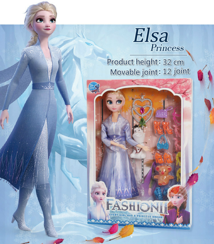 New Disney Princess Frozen 2 Anna And Elsa Dolls 12 Movable Joints Birthday Gifts Cute Girls Pelucia Boneca Clothes Gift Set