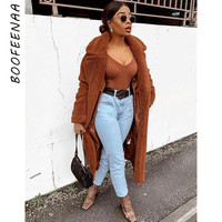 BOOFEENAA Fashion Winter Oversized Long Camel Coat Woman High Quality Faux Fur Fuzzy Jacket Brown Shaggy Teddy Coat C48 CC38