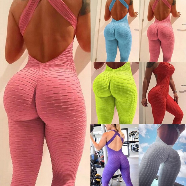2021 Sexy Halter Women's Tracksuit Yoga High Waist Play suit Slim Sport Backless Top Running Sportswear Pants Push up Jumpsuit 2