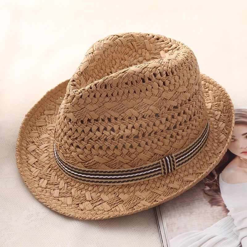 Musim Panas Orangtua-Anak Kasual Berjemur Topi untuk Wanita Fashion Topi Jazz Pria Pantai Trilby Jerami Panama Topi Hollow Belt sun Visor Topi