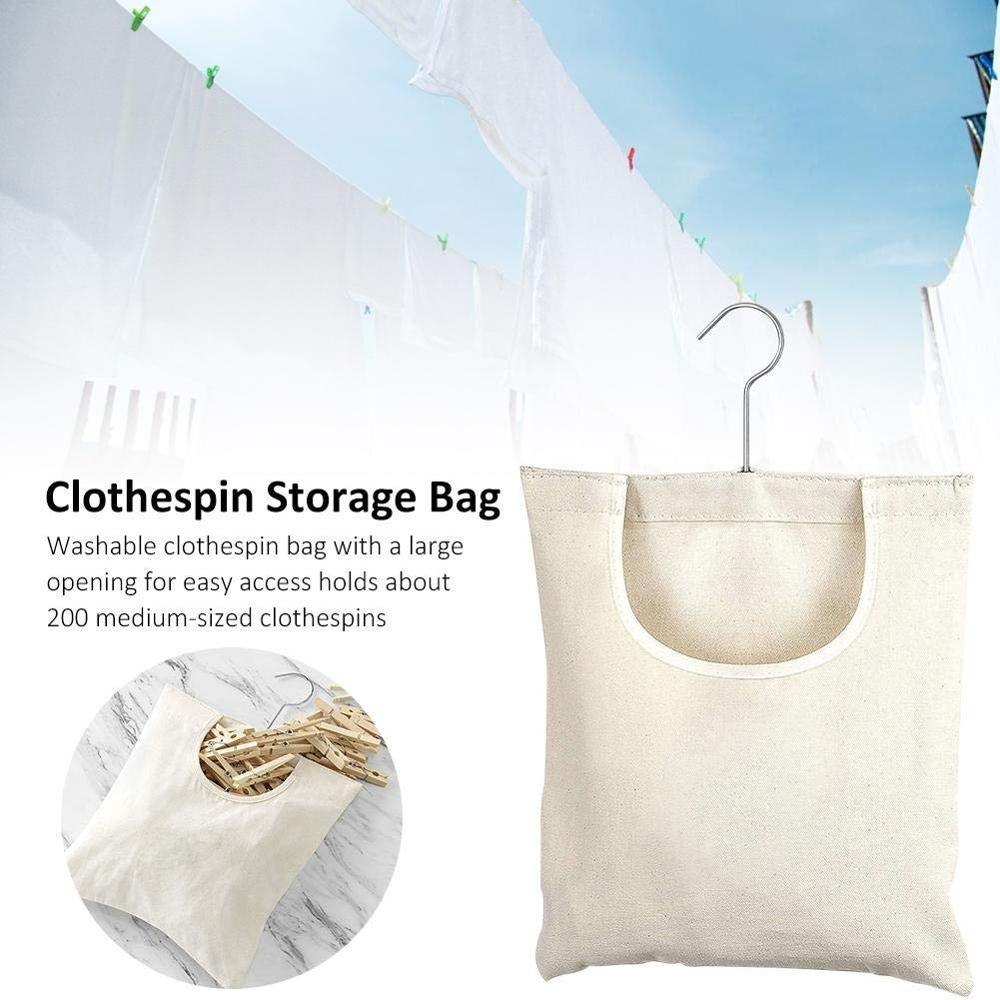 Canvas Clothespin Bag Hanging Storage Organizer,Laundry Clothes Pin Holder Storage Bag With Hanging Hook For Outdoors