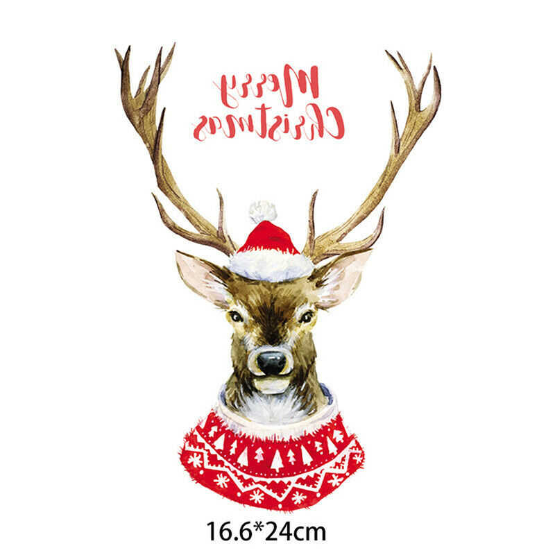 Christmas Elk Deer Sticker Patches Heat Transfer Iron On Cartoon Deer Parches DIY T-shirt Clothes Embroidered Applique Stickers