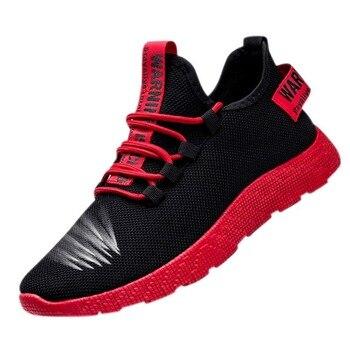 Moda Calçados Esportivos Homens Lace Up Mixed Color Sneakers Respirável Confort Trecho Febric Malha Rasos Apartamentos Rasos Masculinos Tênis 1