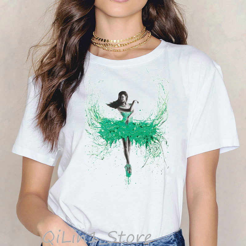 Summer 2019 Novelty Tee Shirt Femme Abstract Mint Ballerina Dance Art Print T-shirt Cute Girl Tee Woman Tshirt Top Funny T Shirt