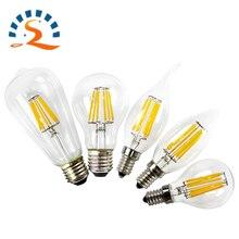 2w 4w 6w 8w LED Light Bulb E14 E27 B22 E12 E26 Filament glss Candle Flame Lamp Clear COB 110v 220v Edison Vintage Ampoule цена и фото