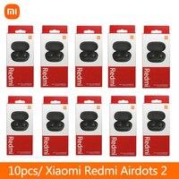 10 unids/lote Original Xiaomi Redmi Airdots 2 auriculares estéreo TWS Bluetooth inalámbrico verdadero del auricular con micrófono auriculares de enlace AI Control