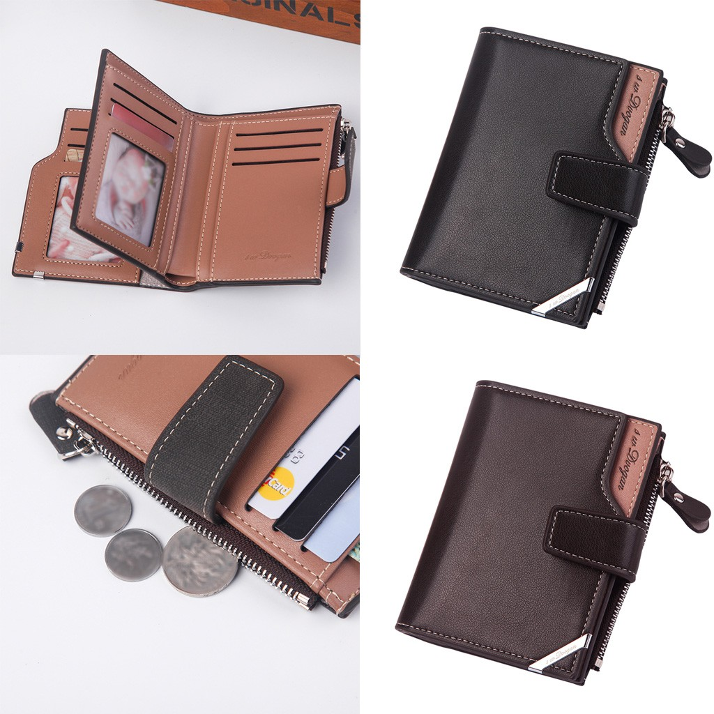 High Quality Brand Wallet For Men's Solid Color Long PU Leather Wallet Retro Vintage Style Card Holder Change Money Bags Wallet
