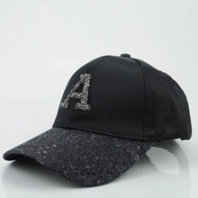 Letter A Women's Cap Rhinestone Sequin Baseball Cap Summer Girls Female Snapback Hip Hop Caps Adjustable Sun Hat(China)