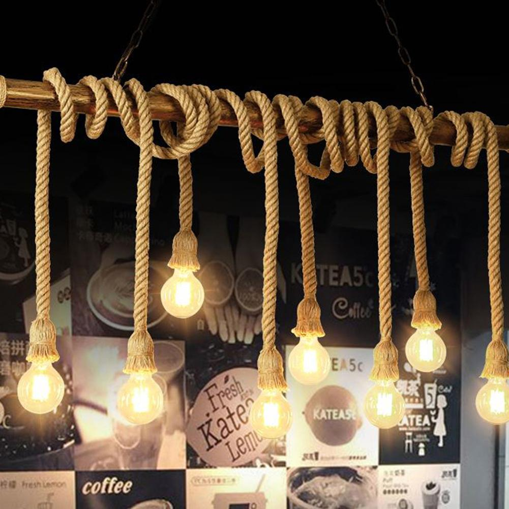 Retro Hemp Rope Woven Thick Hemp Power Cord Chandelier Hanging Wire Lighting Accessories for Table Floor Wall Lighting