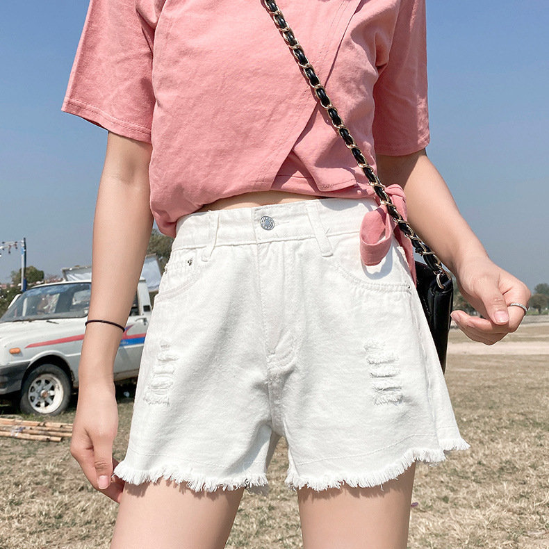 Women's Denim Shorts 2020 Summer Korean High-waisted Hot Pants Wide Legs Loose Was Thin Hole Shorts Women Highwaisted Jeans 2