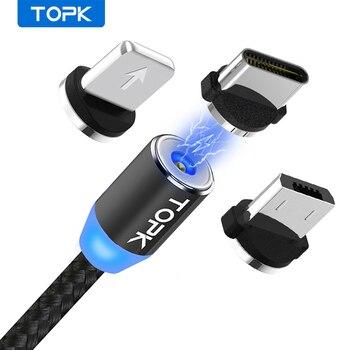 TOPK AM23 LED Câble USB Magnétique, Aimant Chargeur & USB Type C Câble & Câble Micro USB ET Câble De téléphone Portable Pour Iphone 11X8 7Plus 1