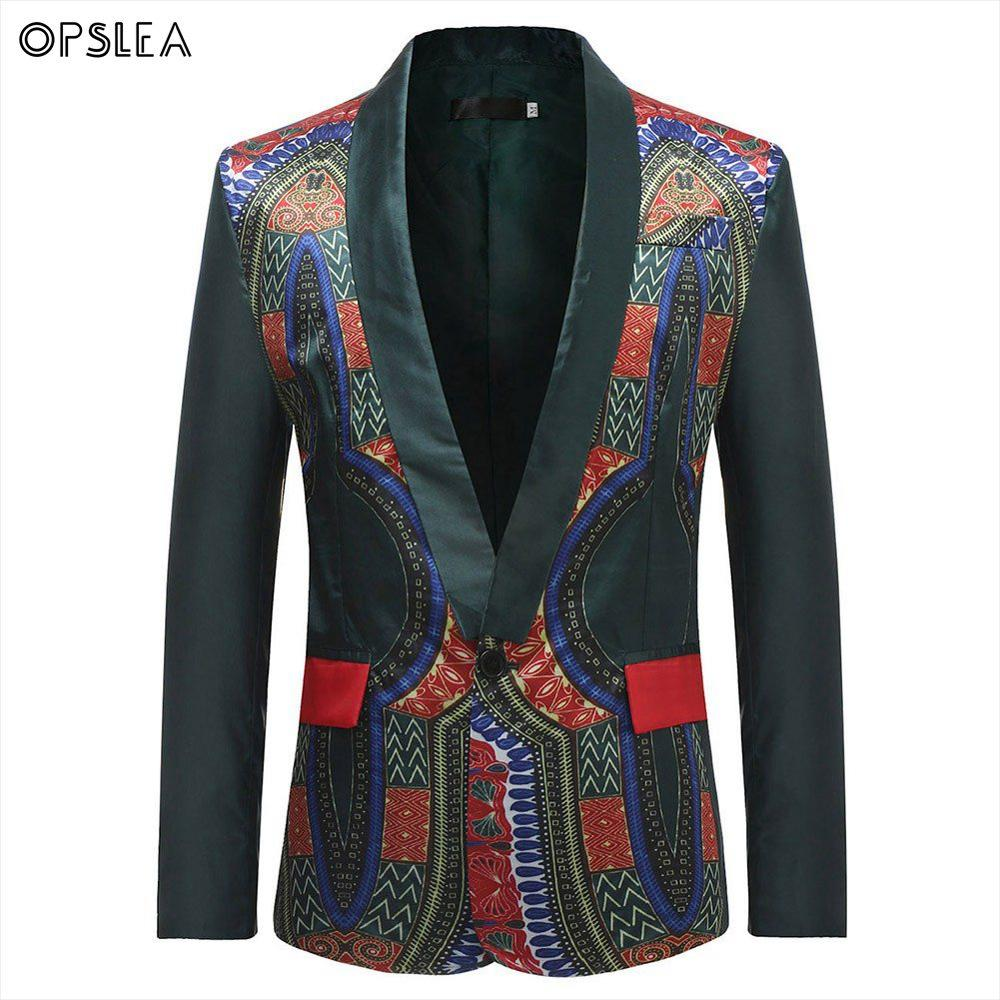 Opslea Dashiki African Men Print Suit Jacket Traditional Cultural Wear Clothing Fashion Casual African Clothes Hip Hop Blazers