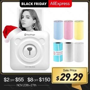 Image 1 - PeriPage Drukarka termiczna kieszonkowa 58 mm, miniaturowa, mini, przenośna, papier do drukowania, bezprzewodowe drukowanie, Bluetooth, Android, iOS