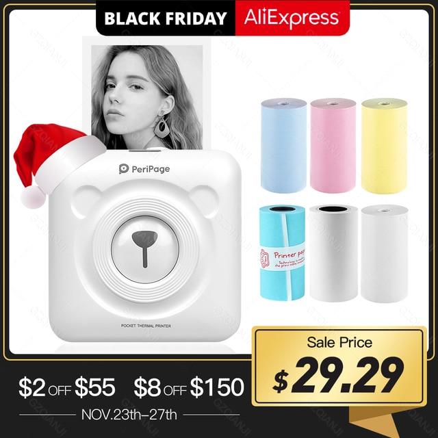 PeriPage Drukarka termiczna kieszonkowa 58 mm, miniaturowa, mini, przenośna, papier do drukowania, bezprzewodowe drukowanie, Bluetooth, Android, iOS