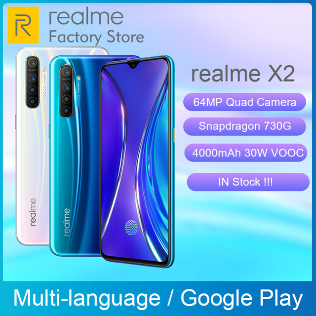 Global Version REALME X2 6.4AMOLED Screen Snapdragon 730G 64MP Quad Camera NFC OPPO VOOC 30W Fast Charger Moblie Phone