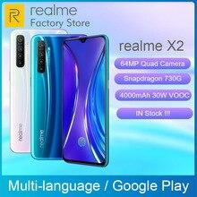Küresel sürüm REALME için X2 6.4 AMOLED ekran Snapdragon 730G 64MP dört kamera NFC OPPO VOOC opfo 30W hızlı şarj cihazı cep telefonu