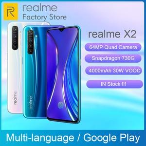 Image 1 - Versão global realme x2 6.4 amamtela amoled snapdragon 730g 64mp quad câmera nfc oppo vooc 30w carregador rápido moblie telefone