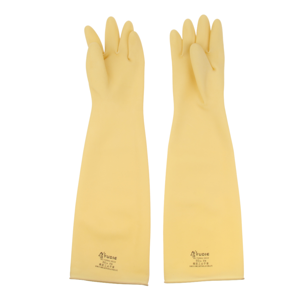 2 Pairs Industrial Rubber Latex Gloves 60cm Safety Gloves Anti Acid Alkali Gloves