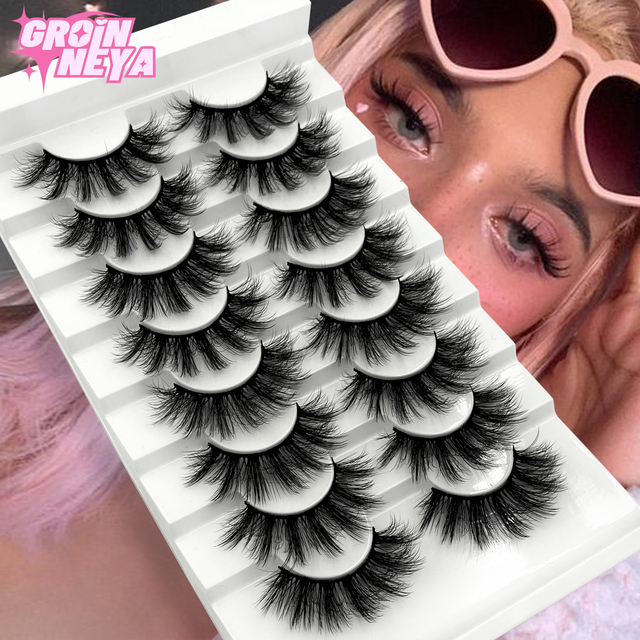 3D Mink Lashes 5/8/10 Pairs Natural False Eyelashes Fluffy Soft Wispy Volume Dramatic Long Cross Eyelash Extension Makeup 1
