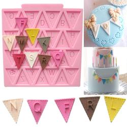 Cooking Tools Flag Shape 26 English Letters Silicone Mold Chocolate Fondant Cake Decorating Cake sugar craft Moulds Tools