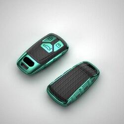 TPU Carbon Fiber Style Car Key Cover Protective Case For Audi A4 New A4L A5 A6L QT S5 S7 B9 Q5 Q7 TTS 2020 keychain Accessories