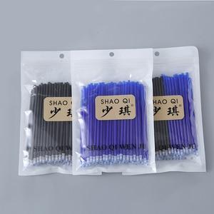 Image 2 - 100pcs/bag Magic Erasable Gel Pen Refills Needle 0.5mm Black / Blue Ink Erasable Pens With Eraser Set Office School Supplies