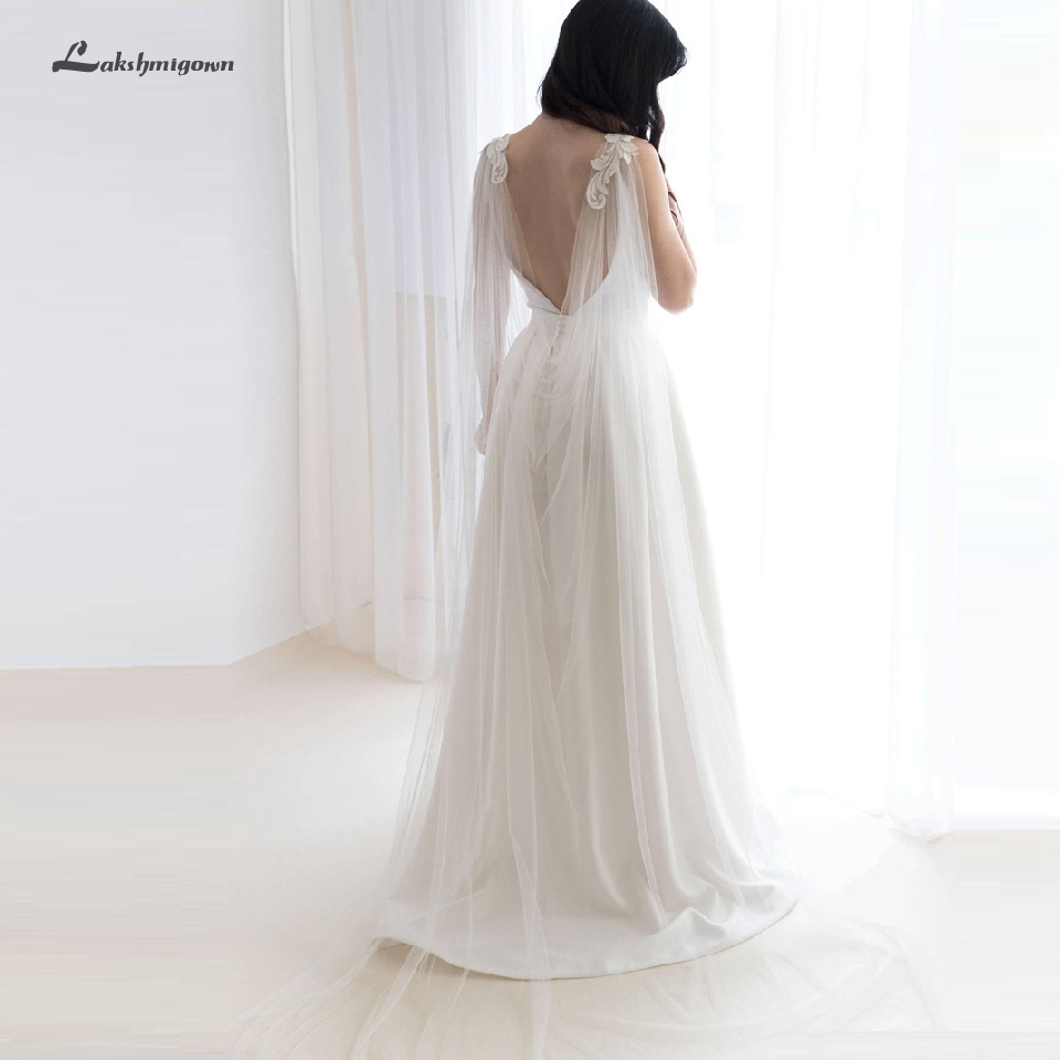 Lakshmigown Open Back Tulle Long Bridal Wraps Capes Lace On Shoulder Women Bolero Wedding Accessories 2019 Estola De Pele
