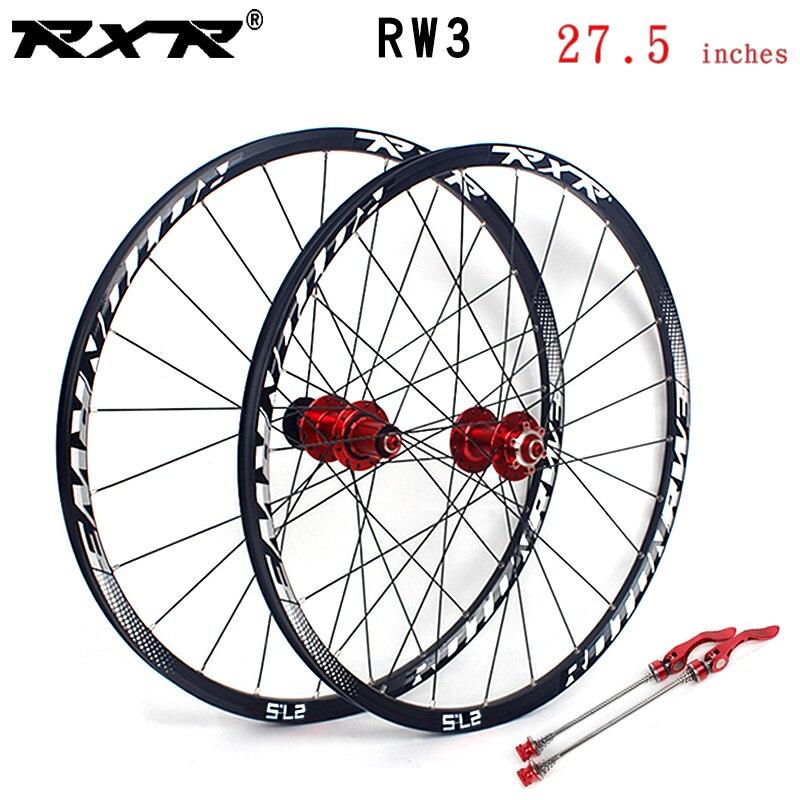 Rxr mountain bike mtb rodado rw3 liga de alumínio 27.5 polegadas freio a disco 5 rolamentos 7-11speed através do eixo/qr roda de bicicleta
