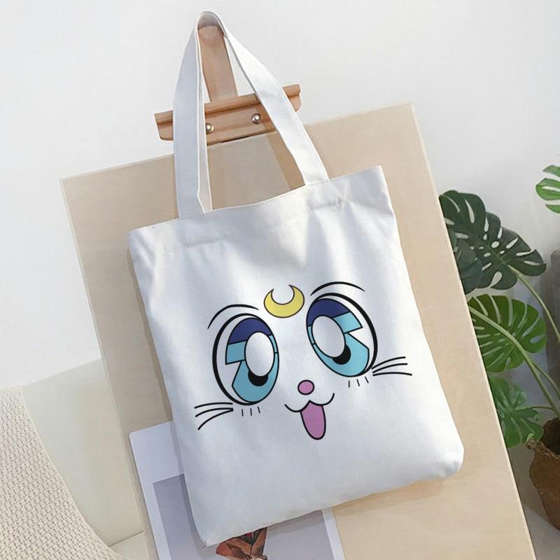 Sailor Moon Cat Sweet Shoulder Bag New Harajuku Cartoon Print Canvas Bags College Open Pocket Large Capacity Handbag Women Bag