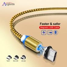 1 M LED magnético Cable y Cable Micro USB y USB de tipo C Cable trenzado USB C imán Cable de cargador para iPhone XR X Xs X Max 7 8 Samsung