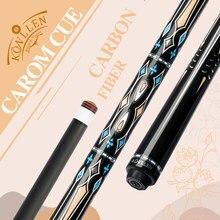 KONLLEN-Taco de billar Carom de fibra de carbono, eje de 12mm, punta de Arce, 3 palos de cojín, incrustación de anillo de plata, 3/8x8, Unión Radial, Libre