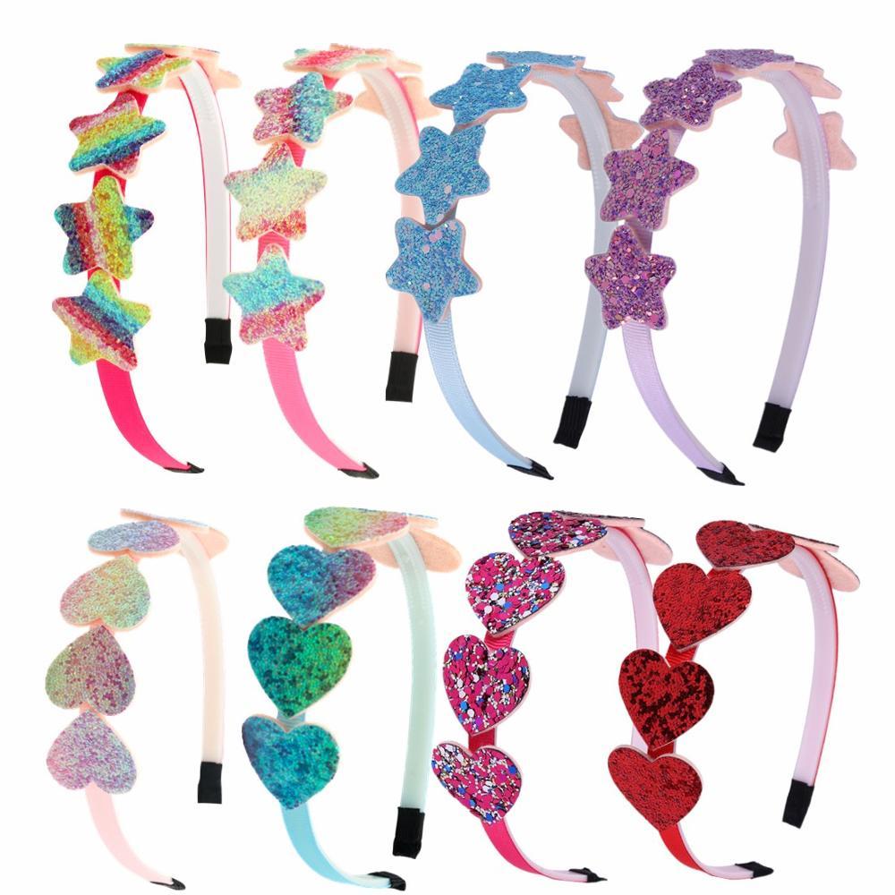 1 peça arco-íris glitter coração hairband crianças estrela brilhante bandana festa de cabelo aros para meninas acessórios de cabelo