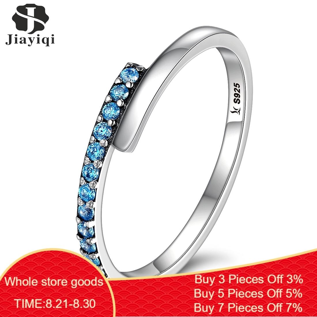 Jiayiqi 100% 925 Sterling Encantos de Prata Incrustada de Zircão Azul Anel de Dedo Para As Mulheres Prom Party Engagement Jóias 2019