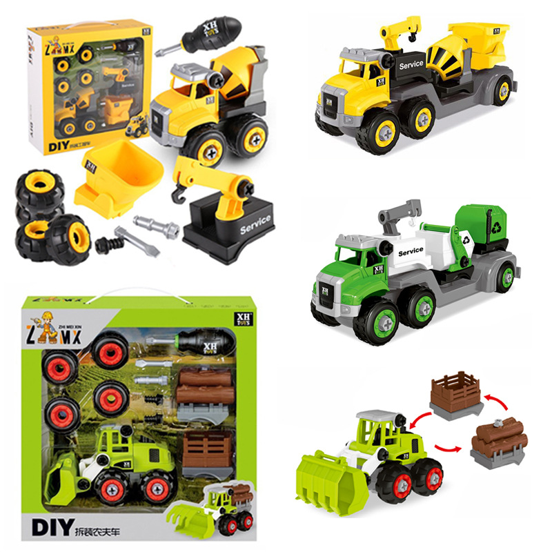 Nut Assembly Disassembly Modeling Construction Mecano Loading Unload Engieering Truck Rolling Car Mixer Boy Toys Diy Model Kit