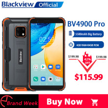 Blackview BV4900 Pro IP68 Robuste Telefon 4GB 64GB Octa Core Android 10 Wasserdichte Handy 5580mAh NFC 5,7 zoll 4G Handy