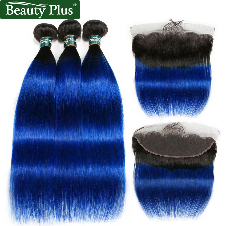 Blue Bundles With Frontal Ombre Straight 3 Bundles With Lace Frontal Ear To Ear Dark Roots Remy Brazilian Human Hair Beauty Plus