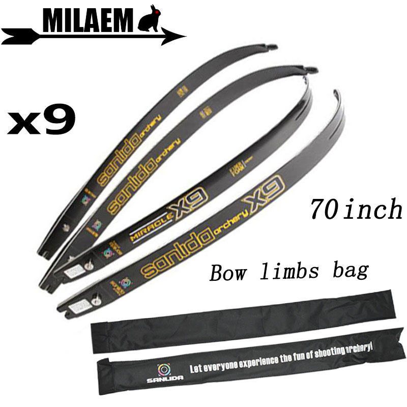 70inch Archery X9 ILF Competitive Recurve Bow Limbs Lntermediate Limbs Graphite Foam 20-46Lbs Shooting Accessories