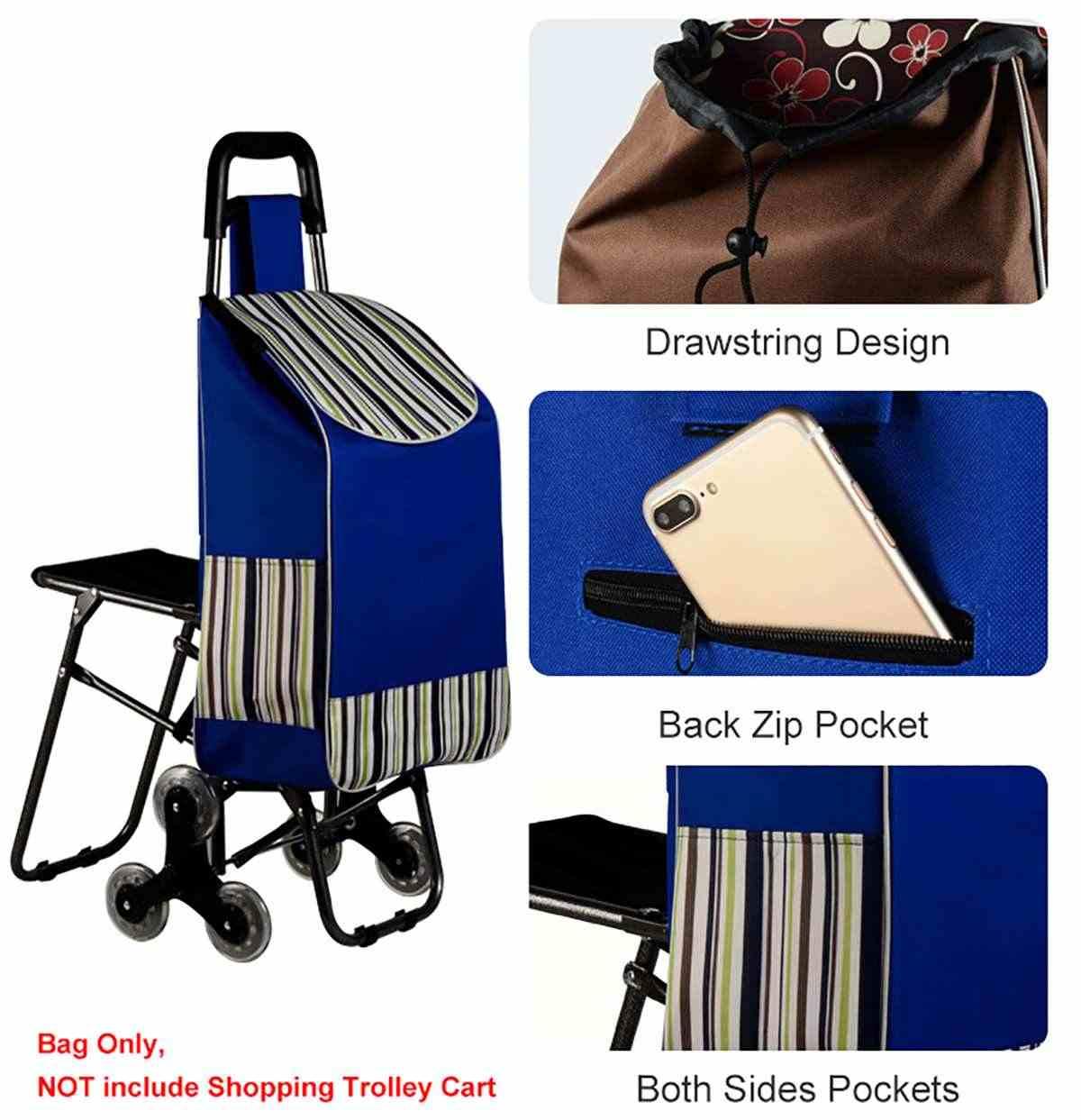 Składany wózek na zakupy torba na zakupy wózek na wózek wózek na wózek kosz na bagaż przeciwdeszczowy zagęszczony płótno
