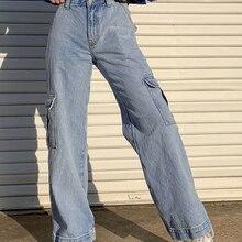 Straight Jean Cargo-Pants Patchwork Weekeep-Pockets Streetwear Blue High-Waist Femme