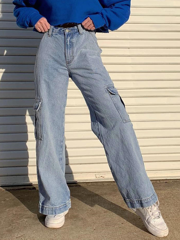 High-Waist Jeans Cargo-Pants Patchwork Weekeep-Pockets Blue Women Streetwear Femme 100%Cotton