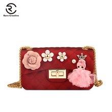 RARE CREATIVE Womens Chain Bags Fashion Shoulder Gel Flower For Women Classic Crossbody Bag Plaid Ladies GM6004