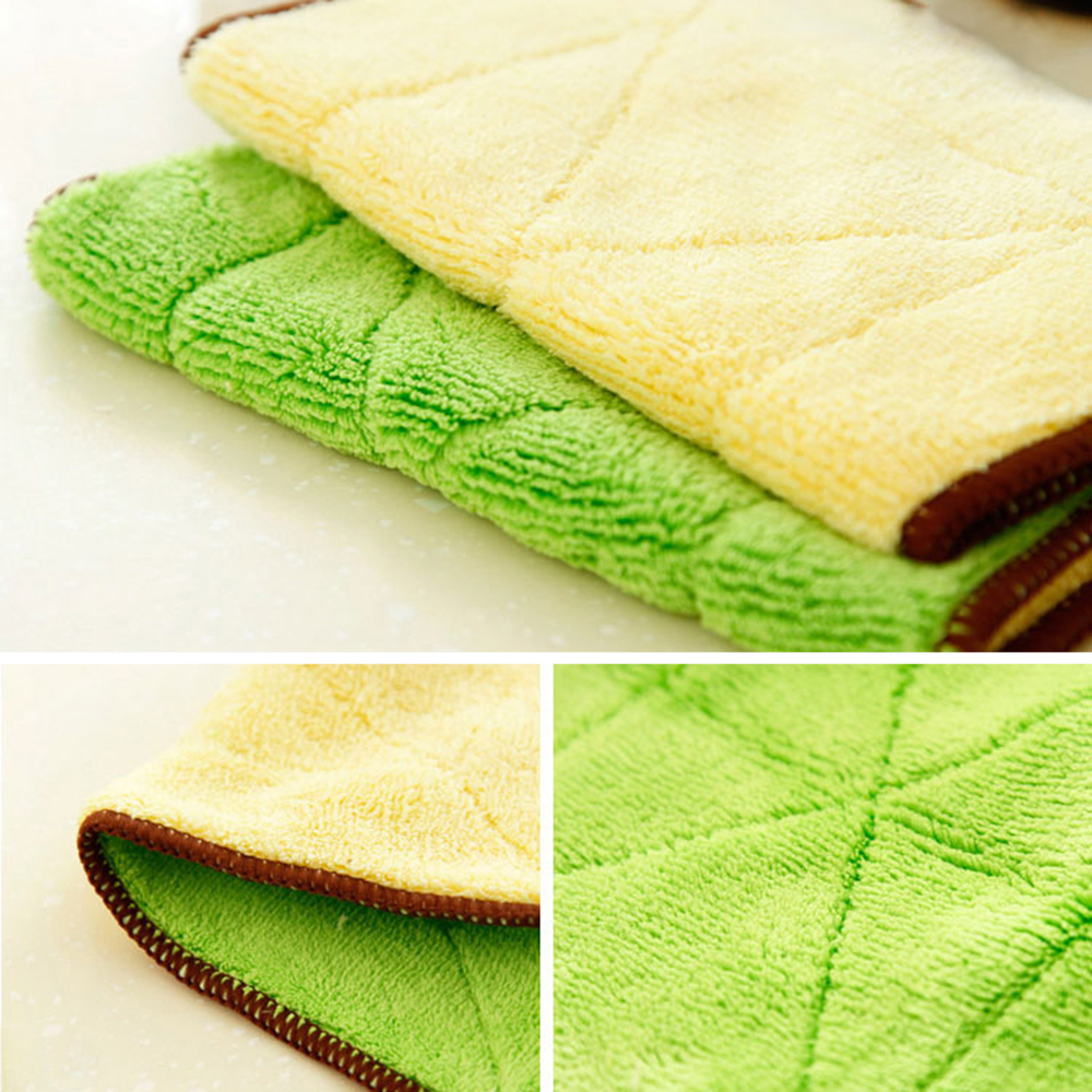 Kitchen Superfine Bamboo Fiber Double-sided Scourer Non-stick Oil Dishwashing Rag household  dish towels for kitchen cotton