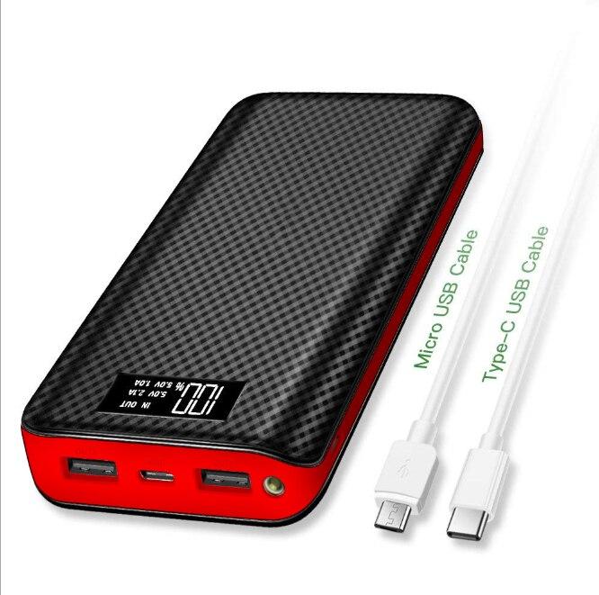 Внешний аккумулятор 30000 мАч, портативное зарядное устройство, водонепроницаемый аккумулятор, портативный внешний аккумулятор для xiaomi, huawei, Iphone, внешний аккумулятор, двойной USB - Цвет: Red 30000mAh
