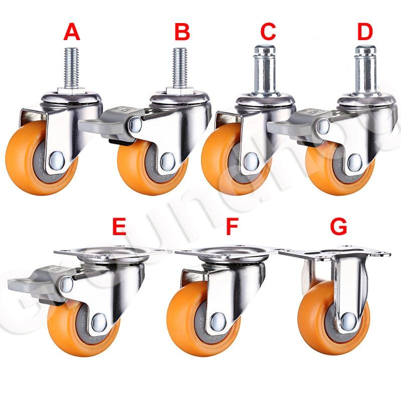 4 pçs/set rodízio de móveis giratória 1.5 polegada resistente 120kg laranja rodas rodízio rodízio ultra silencioso náilon rodas-5