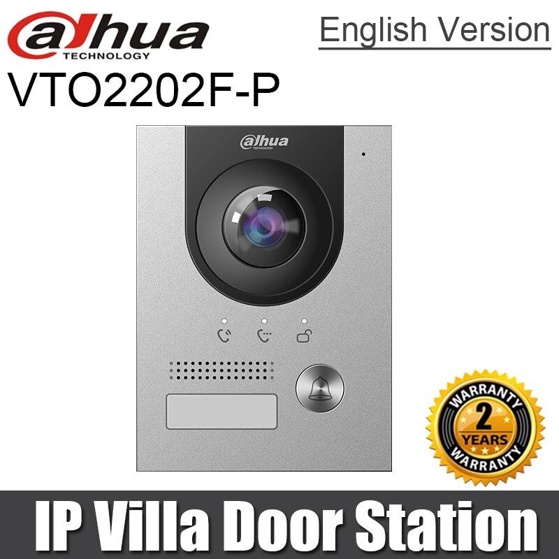 Dahua-estación de Puerta IP Villa, VTO2202F-P de cámara CMOS de 2MP, POE, 160 grados, visión nocturna, indicador de voz, Compatible con VTH5222CH-S1