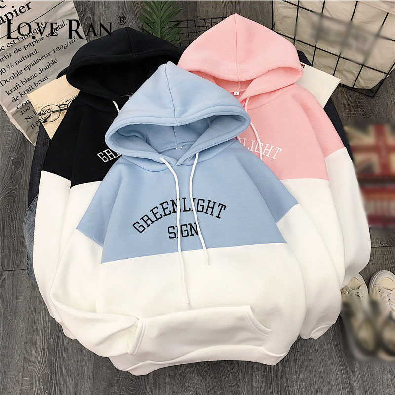Fleece Oversized Thick Warm Women's Hoodies Sweatshirt Letter Print Hoodie Girl 2020 Autumn Female Students Ladies Sweatshirts