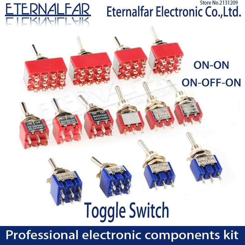 SPDT DPDT Atur Ulang Menempel Toggle Switch MTS-102 5A 6A 125V 3A 250 AC Mini 3 6PIN ON-ON ON-OFF-ON Rocker Switch Lampu Motor