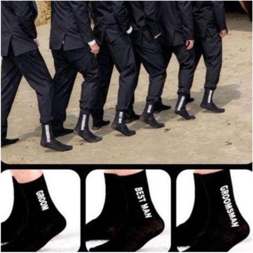 2020 Mans Black Socks For Wedding Party Groom Groomsman Best Man Print Long Sock Funny Suit