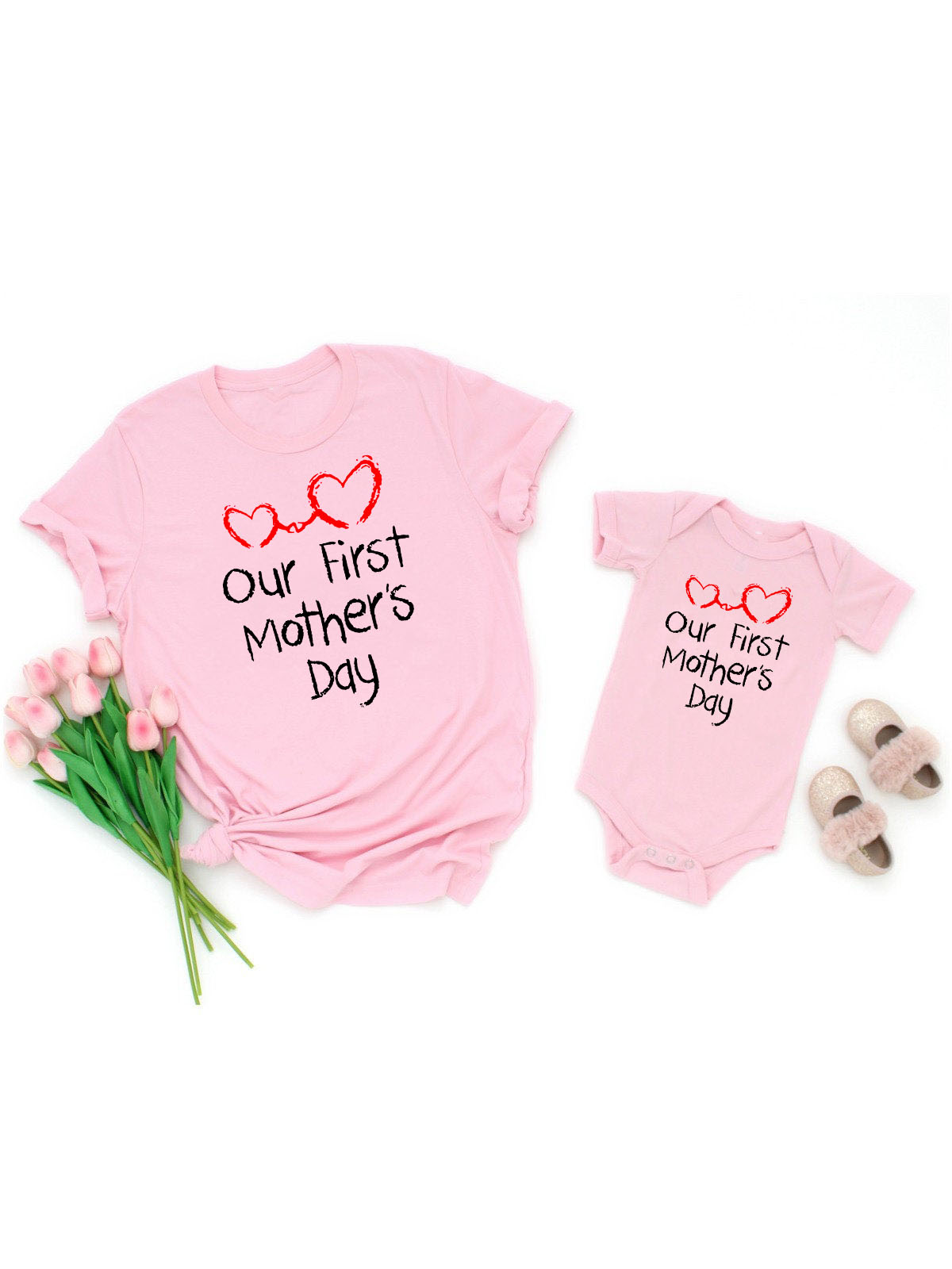 Our First Mother's Day tops Mom & Baby Matching tees Bodysuit & Women Shirt short sleeve family matching outfits