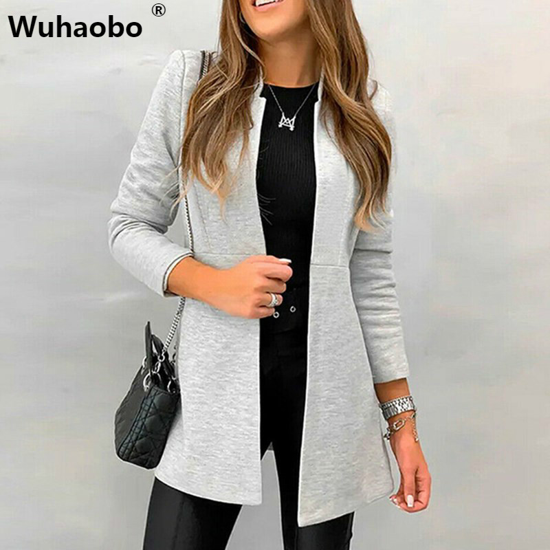 Autumn Winter Solid Slim Suit Coats Women Fashion Long Sleeve Casual Stand Collar Open Stitch Elegant Ladies Blazers Overcoats